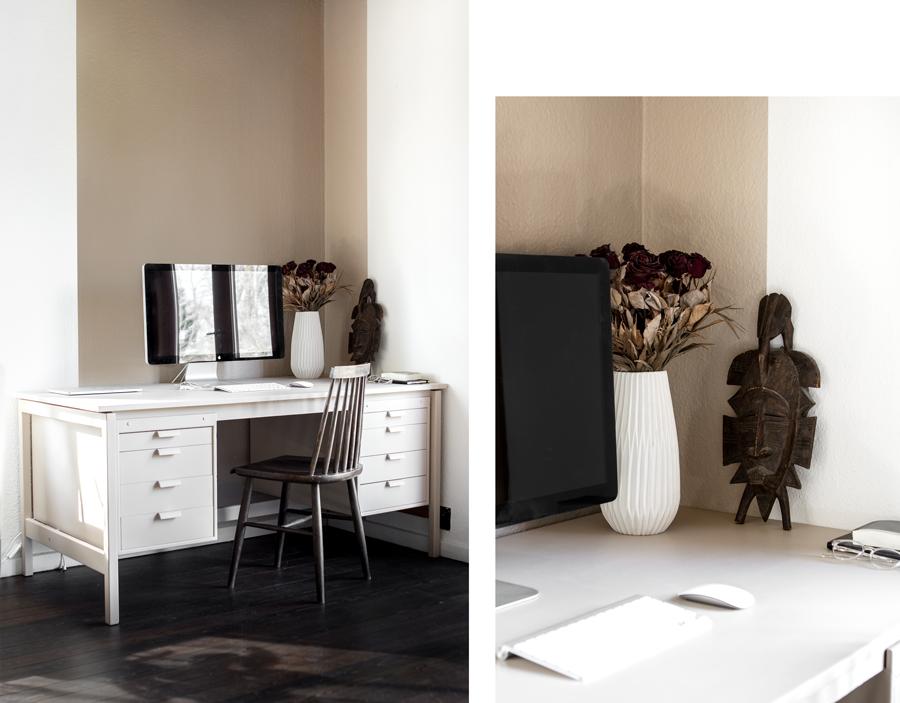 Kontor - malet væg og skrivebord