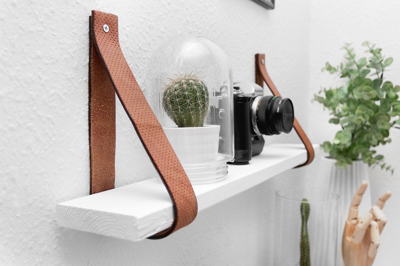 DIY leather Belt Shelf by Katarina Natalie